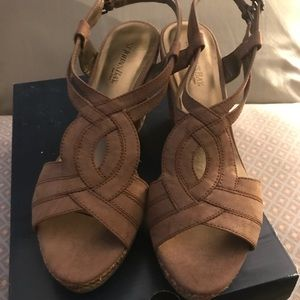 Size 8 St. John's Bay brown wedge sandal